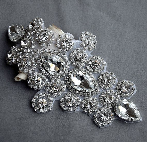 Rhinestone Applique Bridal Accessories Crystal Trim Rhinestone Beaded Applique Wedding Dress Sash Belt Headband Jewelry RA023