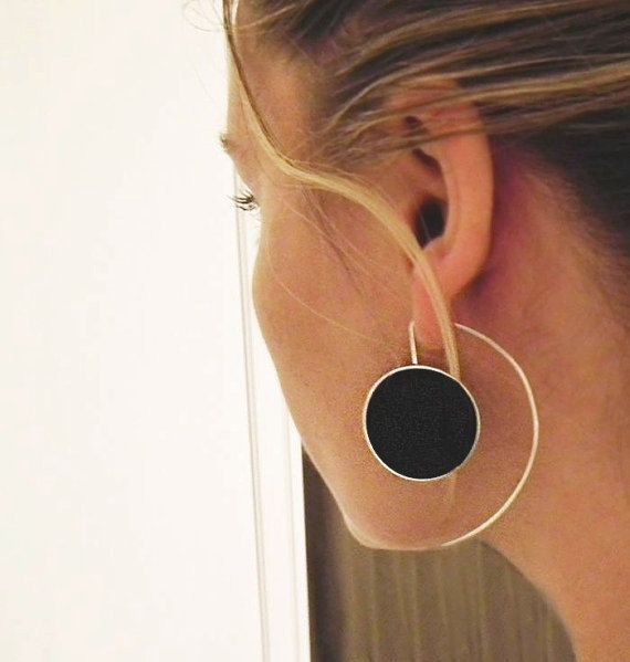 Big Silver Earrings, Long Sterling Silver Earrings, Big Statement Silver Resin Earrings, Black Earrings, Black Jewellery