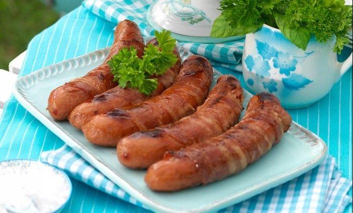 Rostad potatis & baconlindad korv