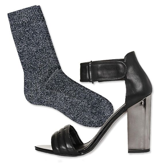 Trend to Try: Sock-and-Sandal Pairings - Twisted Yarn Socks + Chunky Ankle-Strap Sandals from #InStyle