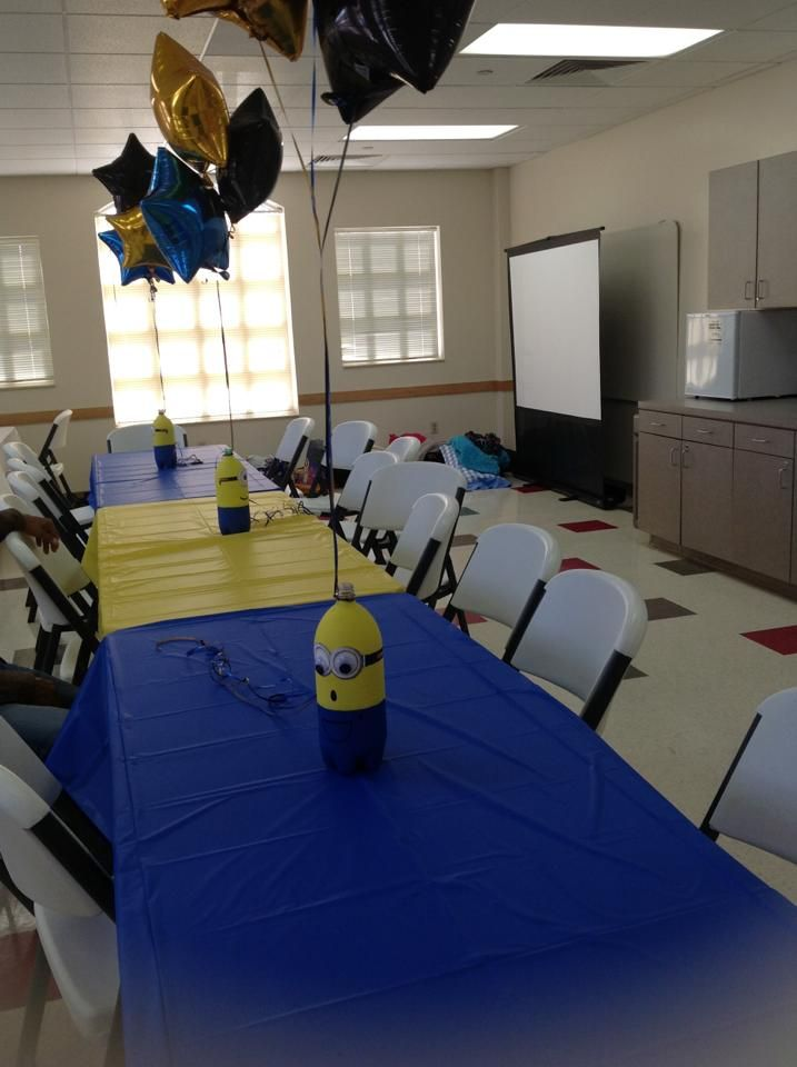 Despicable Me Birthday Party Table: Make using soda bottles, paint and googly eyes...
