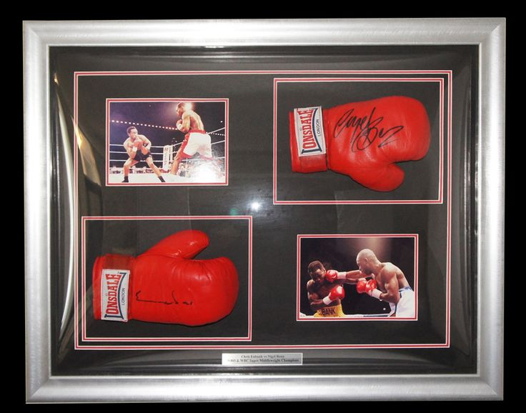 This authentic hand signed Lonsdale Boxing Gloves display Hand signed by both British world champions, Nigel Benn & Chris Eubank. A proper piece of memorabilia for those true boxing collectors