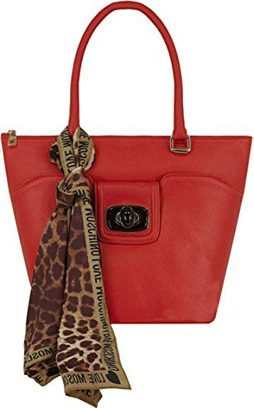 Love Moschino Saffiano Faux Leather Scarf Shoulder Bag Red