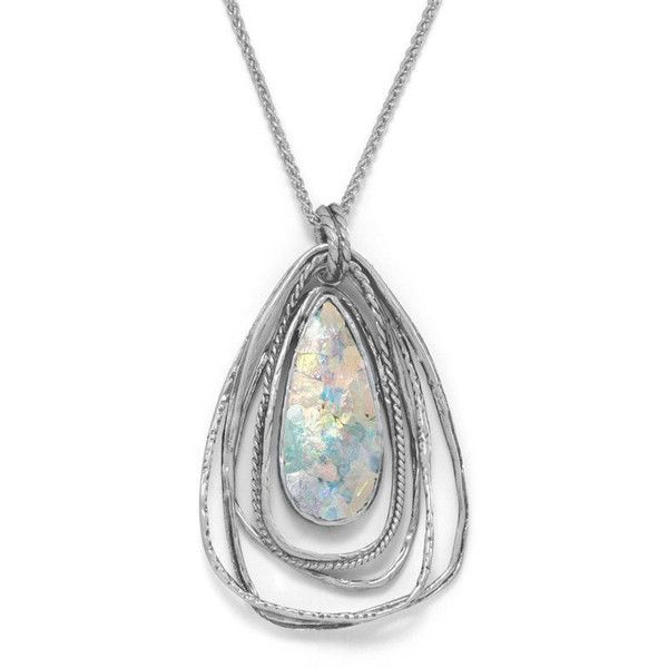 18 Ancient Roman Glass Two Part Pear Drop Pendant Necklace ($168) ❤ liked on Polyvore featuring jewelry, necklaces, pear pendant, glass pendant jewelry, cut out necklace, pear necklace and pendant jewelry