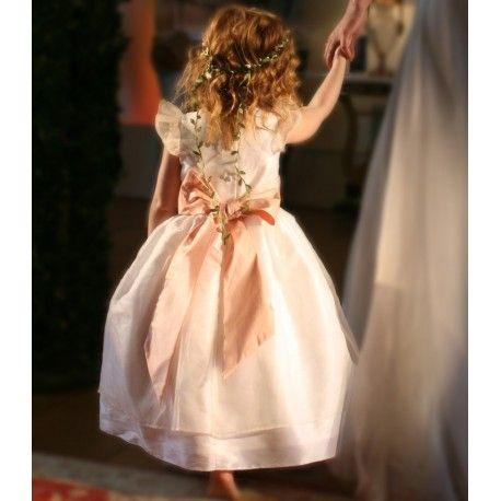 designer flower girl dresses uk Adele white and pink silk organza flower girl dress by Royal designer Little Eglantine