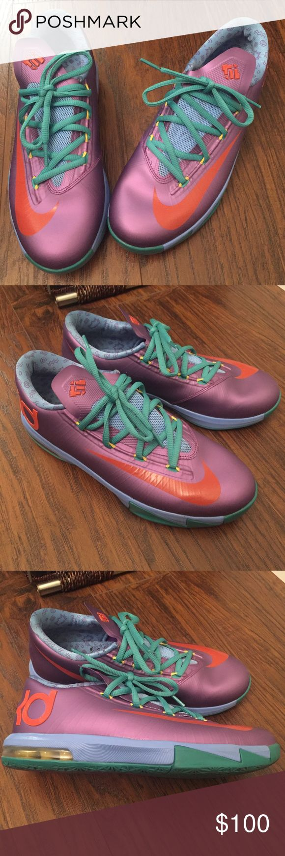 Nike KD VI Rugrats 5.5 Y Nike KD VI features a Laser Purple upper with Team Orange accents and Sport Turquoise detailing with a Rugrats-inspired graphic on the inner lining. These are in next to new condition, with no major signs of wear. Box not available Nike Shoes Sneakers