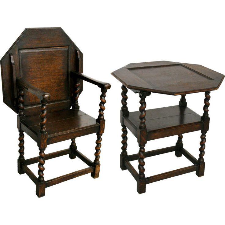 17th Century New England Wood Gateleg Table-Chair