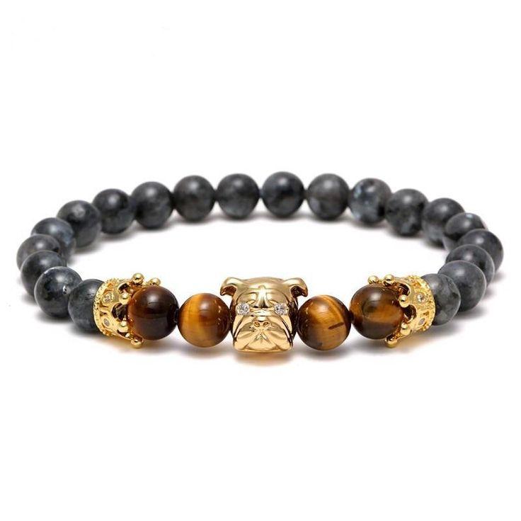 Elegant Gold Plated Natural Stone Beaded Bracelet For Die Hard Pup Lovers