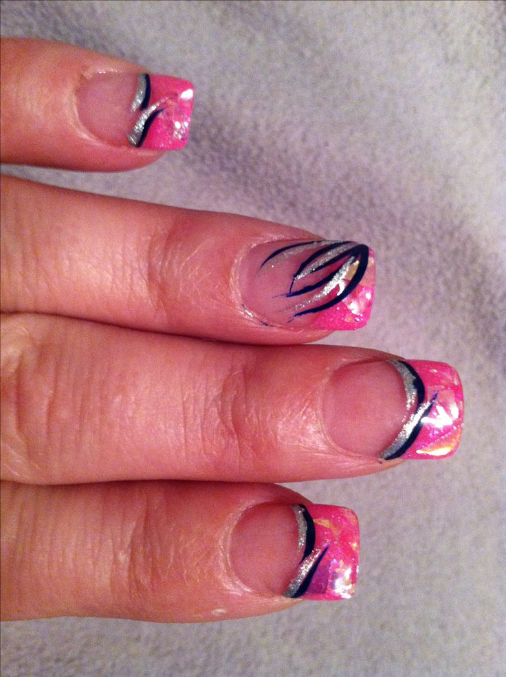 Hot pink foil glitter with silver and black design Solar nail July 2013