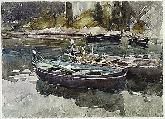 Small Boats- John Singer Sargent, watercolor and graphite on paper