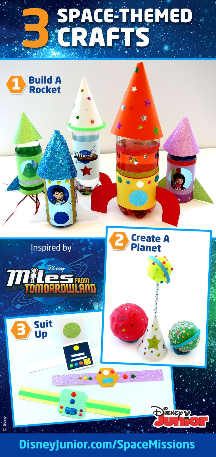 Fun, creative space-themed activities inspired by Disney Junior's Miles From Tomorrowland to get your kids excited about space!  Complete an activity, take a photo and upload for a chance to win a VIP family trip to see a rocket launch & meet an astronaut. Visit DisneyJunior.com/SpaceMissions for details on how to enter now through 8/31/2015.