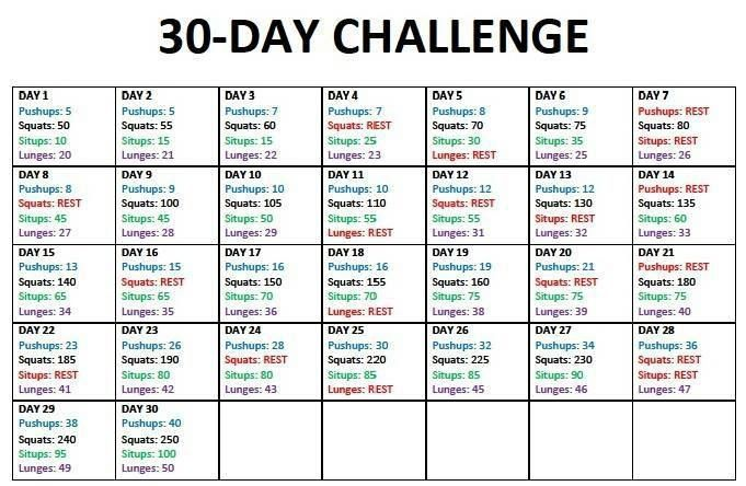 Gonna try this 30 day fitness challenge
