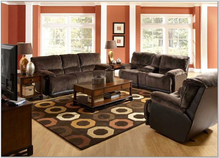 Living Room Blue Rug Brown Couch Idea   Brown living room ...