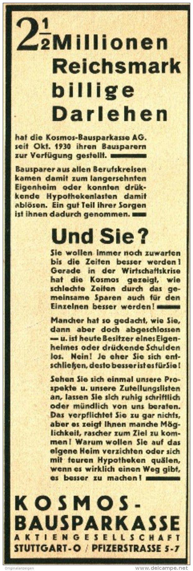 Original-Werbung/ Anzeige 1931 - KOSMOS BAUSPARKASSE - ca. 65 x 200 mm