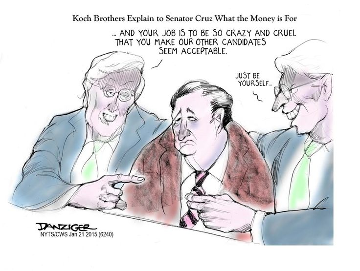 Cartoon: The Kochs Have A Mission For Ted Cruz! ~ Ted Cruz is about to find out why the Koch brothers keep paying him.