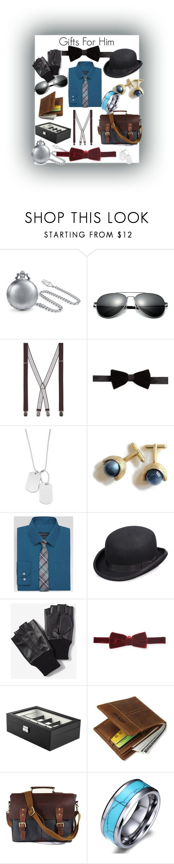 """Gifts For Him"" by pretty-and-practical ❤ liked on Polyvore featuring Bling Jewelry, Topman, Tallia Orange, Variations, Feiss, Scala, Express, Saks Fifth Avenue, JBW and vintage"