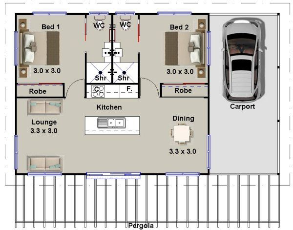 2 bedroom granny flat  ~ Great pin! For Oahu architectural design visit http://ownerbuiltdesign.com