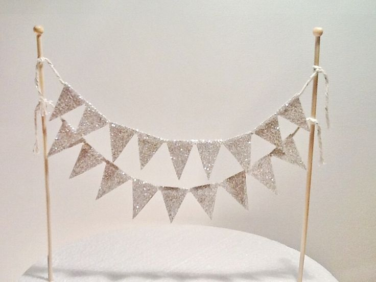 Cake Bunting/Cake Topper/Cake Banner. Silver Glitter Flags. Wedding - Engagement - 21st - Sweet 16 - Birthday - Sparkly Silver. by ConfettiCreationsAus on Etsy https://www.etsy.com/listing/155608430/cake-buntingcake-toppercake-banner