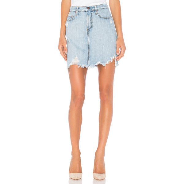 Nobody Denim Harper Skirt (188 AUD) ❤ liked on Polyvore featuring skirts, distressed skirt, cotton skirts, red skirt, ripped skirt and nobody denim