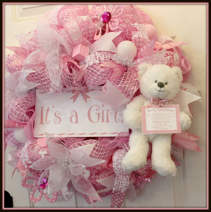 Its a Girl Baby Wreath, Baby Wreath, Girl Wreath, Nursery Wreath, , Baby Shower Wreath, Baby Deco Mesh Wreath **This is a Custom PRE-Order** Your wreath will look similar but not exact and may take up to 3 weeks to ship. I also have a Boy Wreath available too for Pre-Order! This is a adorable Deco Mesh Its a Girl Wreath! This is show stopper and perfect for new mommy, baby shower or nursery! This wreath measures 29across x 9 deep. This wreath is made with baby girl colors of pink and wh...