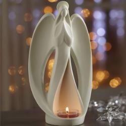 """$18 infinity angel tealight holder - A sculptural, fluid display of beauty and grace. Our bisque ceramic angel holds a tealight, sold separately, in her flowing gown. 9"""" h, 5"""" w. by #PartyLite #Candles"""