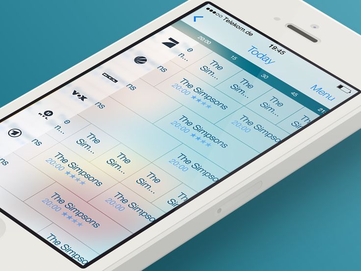 iOS 7 TV Guide - EPG View by Hannes Kleist  I like the clean typography and icons