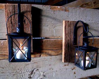 Lantaarn Pair, rustieke Decor van het huis, inrichting van de keuken, slaapkamer decor, rustieke badkamer inrichting, smeedijzeren lantaarn set, muur Schans, muur opknoping