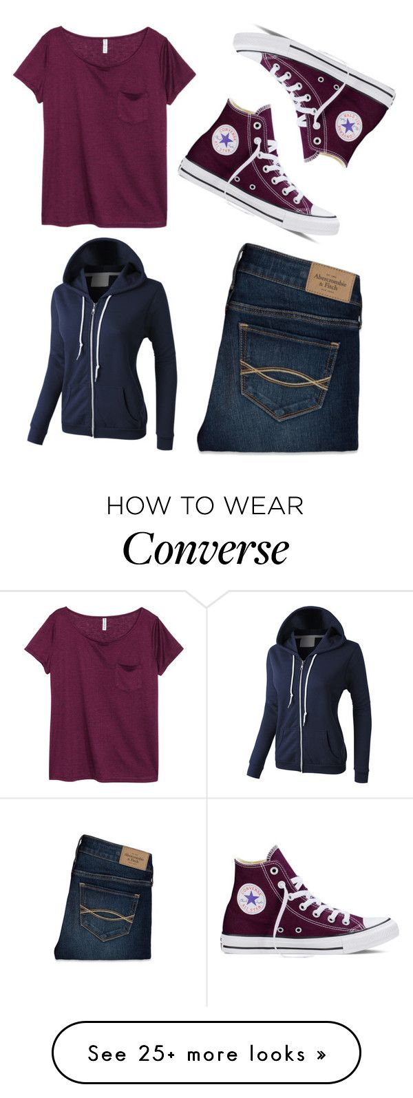 """""""Navy & Cherry"""" by epiezyfactory on Polyvore featuring H&M, Abercrombie & Fitch, Converse and LE3NO"""