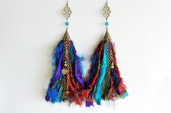 Sari Silk Earrings Gypsy Tribal Boho