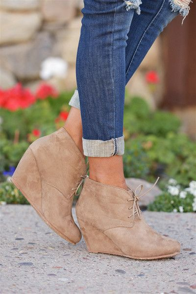 Wedge Booties - Taupe from Closet Candy Boutique #fashion #spring