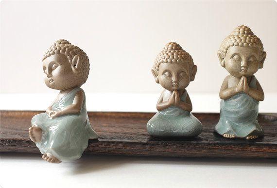 set of ceramic figurine, Interior Ceramic figurine, tea accessorize, ceramic buddha figure