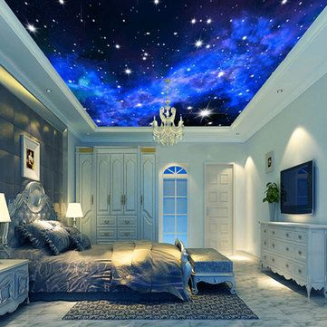 3D Wallpaper Mural Night Clouds Star Sky Wall Paper Background Interior Ceiling …