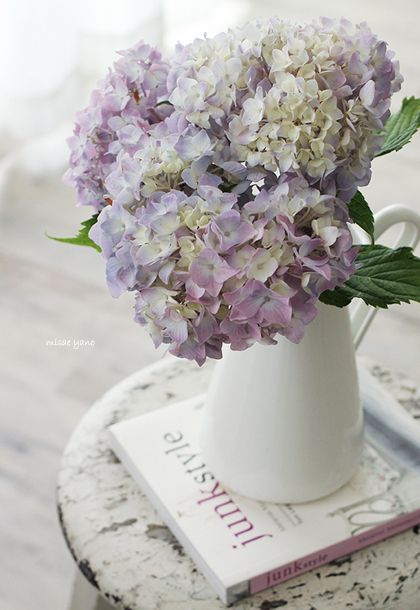 hydrangea - potentially blue ones to complement greenery if olive dress colourings