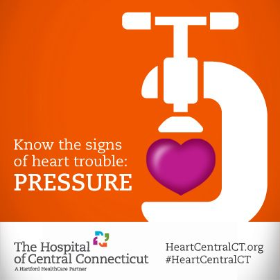 Women and men alike will often experience uncomfortable pressure, squeezing, fullness or pain in the center of their chests during a #HeartAttack. The sensation can last more than a few minutes, or go away and come back. It's an important warning sign to be aware of. #hearthealth #heart #pressure