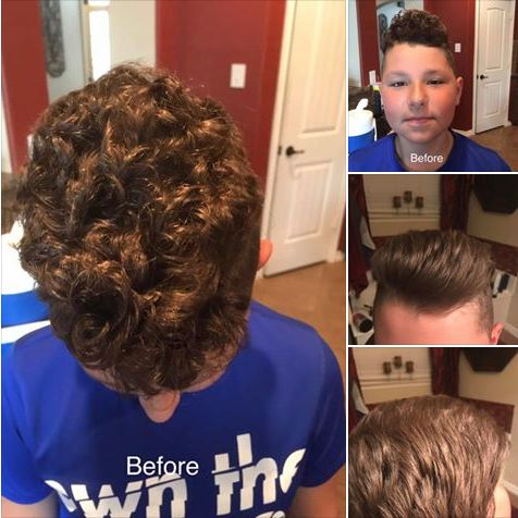 Monat for the win!!! Got bored tonight, so I thought I'd try an experiment. Connor, my 10yr old, has crazy curly, thick, frizzy hair!!! So tonight I used the Monat balance system on him paired with the blow out cream and WOW!!! I have never been able to get his this hair straight!! I had no idea how light his hair actually is! Lol  I'm blown away (pun intended!) thank you again buddy for being my Guinea pig!