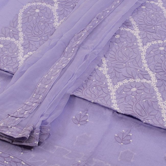 Buy online Hand Embroidered Purple Chikankari Cotton 3 Piece Salwar Suit Material With Chiffon Dupatta 10015237