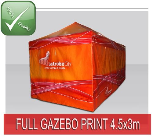 TENTFLAG.COM - PRINTED GAZEBO 3x4,5 - This Tent is including High Quality Sublimation print on the valances of the roof, where you can place your logo, web address etc. This gives you a personalised Promotion Tent for a small price!