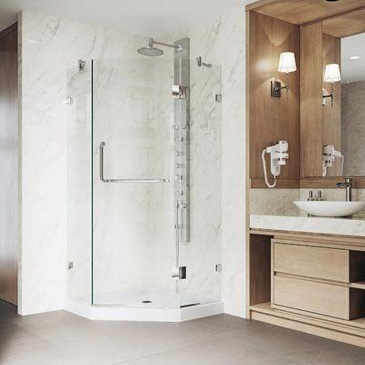 Look At This Trendy Glass Shower What A Very Creative Innovation Glassshower In 2020 Neo Angle Shower Doors Corner Shower Enclosures Glass Shower Enclosures