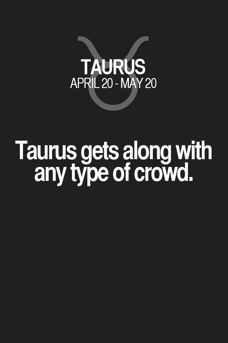 Taurus gets along with any type of crowd.