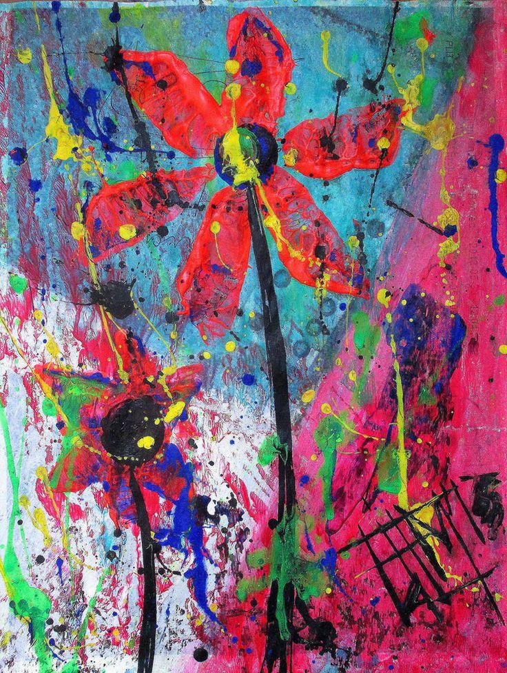 Franck de las Mercedes Signed Art Print of original floral artwork FLOWERFUL #Expressionism