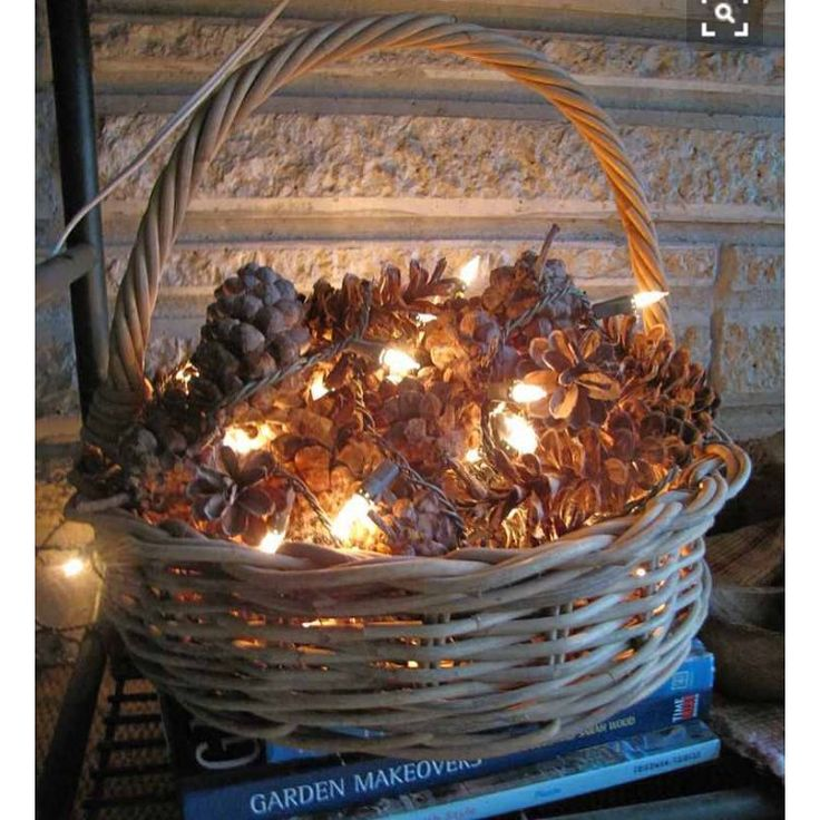 pinecones #decorated with #lights in a #basket for #Christmas. ( #photo credit to digsdigs.com) ❤️
