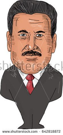 May 19, 2017: Watercolor style illustration of Nicolas Maduro, President of Venezuela viewed from front set on isolated white background done in cartoon caricature style.   #nicolasmaduro #caricature #illustration