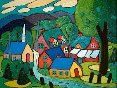 SMALL VILLAGE IN SPRING Original paintings by Canadian artist Terry Ananny - TERRY ANANNY
