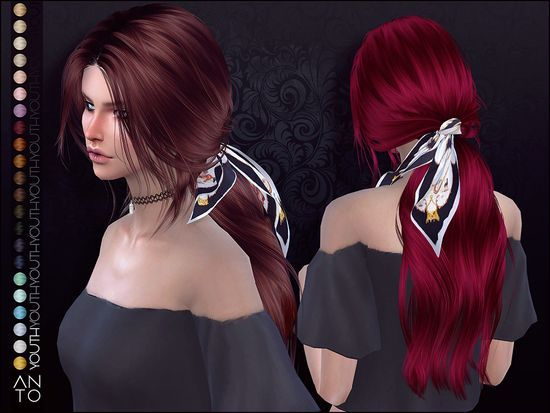Long wavy ponytail for your sims Found in TSR Category 'Sims 4 Female Hairst... - #39Sims #Category #Female #hairst #long