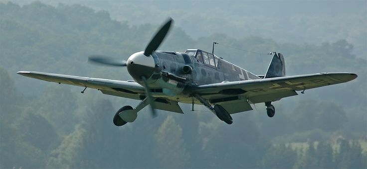 Restored ME-109G6 in flight 2005.  note the lack of Swastika on the tail.. display of which is illegal in Germany.