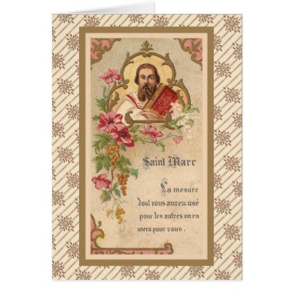 St. Mark the Evangelist French Antique Card - antique gifts stylish cool diy custom