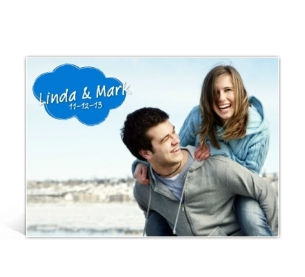 Trouwkaart met foto en wolkje / Wedding invitation with clipart cloud