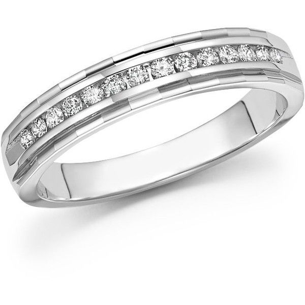 Diamond Men's Band in 14K White Gold, .25 ct. t.w. - 100% Exclusive ($900) ❤ liked on Polyvore featuring men's fashion, men's jewelry, men's rings, white, mens band rings, mens 14k gold rings, mens white gold diamond ring, mens rings and mens watches jewelry