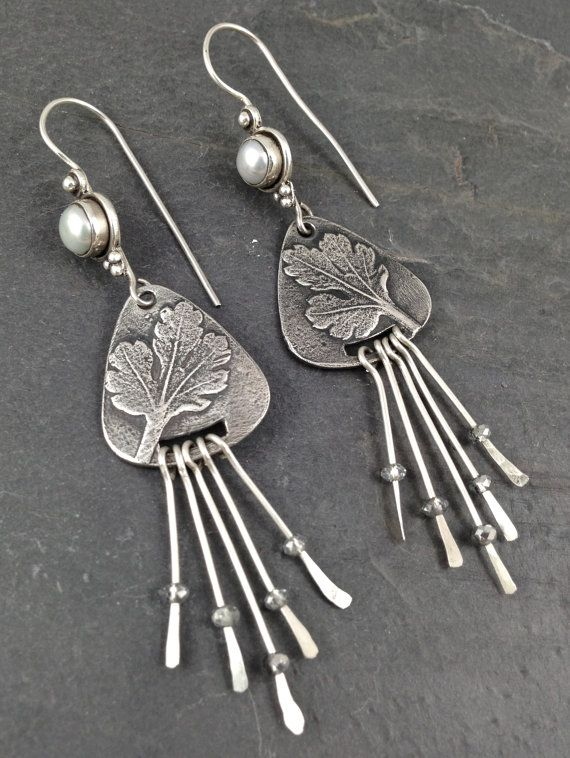 Fine Silver metal clay dangle earrings