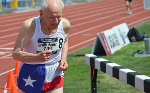 WOW! #inspired #amazing -  20 records fell at the U.S.A. Masters Championship, including the 400m world record for men 95-99. Orville Rodgers, pictured, beat the record by 16 seconds running a 2:21.82